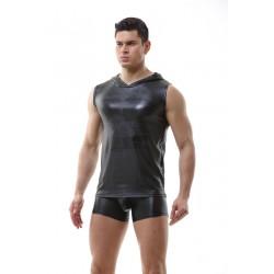WangJiang hooded leather elastic shirt