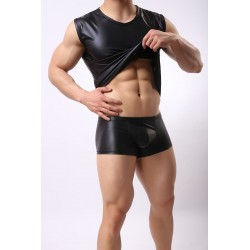 Karen Space leather elastic shirt